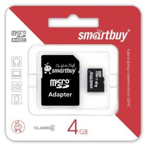 Карта памяти MicroSDHC SmartBuy 4 ГБ Class 4 + переходник – адаптер SD (SB4GBSDCL4-01)