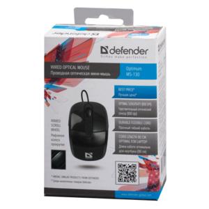Мышь USB Defender Optimum MS-130 Black 2кн+кл 800dpi Чёрная