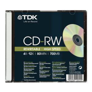Диск CD-RW TDK 700Mb 80min 4х-12х Slim