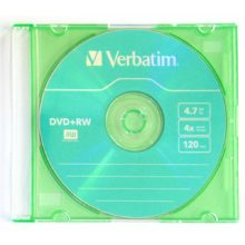 Диск DVD+RW 4,7 Gb 4x Slim Verbatim Color