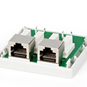 Розетка двойная 2xRJ-45 8p8c (5e кат) STP, экранированная