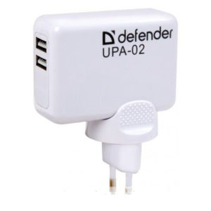 Адаптер питания 220B с выходом USB 2-port DEFENDER UPA-02