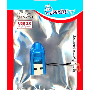 Адаптер Flash-карт USB – microSD SmartBuy (SBR-710-B) Blue Голубой