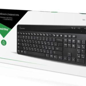 Клавиатура USB SmartBuy 214 Мультимедийная/ Чёрная USB-хаб ,Аудиовыход