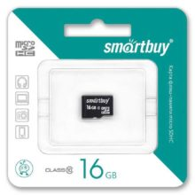 Карта памяти MicroSDHC SmartBuy 16 ГБ Class 10 без адаптера SD (SB16GBSDCL10-00)