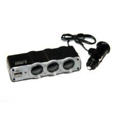 Адаптер-разветвитель прикуривателя 1 на 3 + 1xUSB-выход 1A IN-CAR Упаковка - блистер (WF-0120)