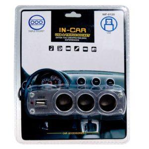 Адаптер-разветвитель прикуривателя 1 на 3 + 1xUSB-выход 1A IN-CAR Упаковка – блистер (WF-0120)