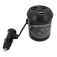 Автоадаптер-разветвитель прикуривателя 1 на 2 + 2xUSB-выхода 1A Форма стакана Упаковка - блистер (WF-0309)