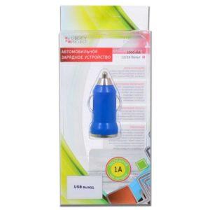 """Автомобильное зарядное устройство """"LP"""" с USB выходом 1000mAh Синее Коробка (HHT-001)"""