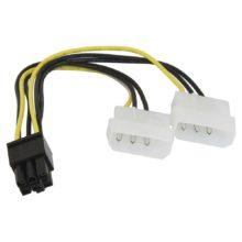 Кабель питания для подключения видеокарты к блоку питания 5.25 + 5.25 -> Видеокарта 2xMolex(2x4pin) -> PCI-E 6-pin