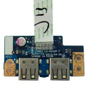 Плата 2xUSB для ноутбука Acer Aspire E1-510, E1-532, E1-570, E1-572, Packard Bell ENTE69CX (V5WE2 LS-9532P) + шлейф (V5WE2 NBX0001BH00)