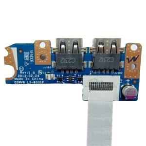 Плата USB (2 разъема) для ноутбука Acer Aspire V3-551, V3-551G (Q5WV8 LS-8331P) + шлейф (HAMBURG-SH E235863 AMW 20798 80C 60V VW-1)