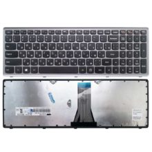 Клавиатура для ноутбука Lenovo IdeaPad G500s, G505s, S510, Z510 Рамка - Серебро, Клавиши - Чёрные (0KN0-B71RU12, MP-12U73SU-6861, T6E1-RU, MP-12U7)