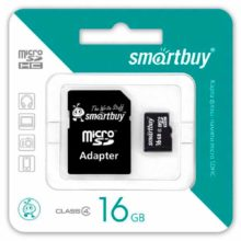 Карта памяти MicroSDHC SmartBuy 16 ГБ Class 4 + адаптер SD (SB16GBSDCL4-01)