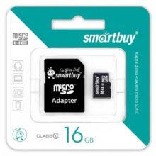 Карта памяти MicroSDHC SmartBuy 16 ГБ Class 10 + адаптер SD (SB16GBSDCL10-01)