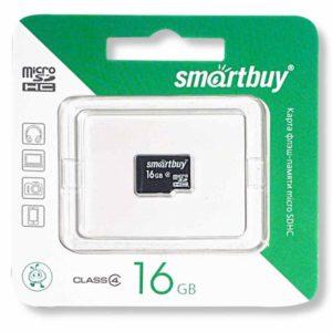 Карта памяти MicroSDHC SmartBuy 16 ГБ Class 4 без адаптера SD (SB16GBSDCL4-00)