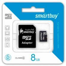 Карта памяти MicroSDHC SmartBuy 8 ГБ Class 4 + адаптер SD (SB8GBSDCL4-01)