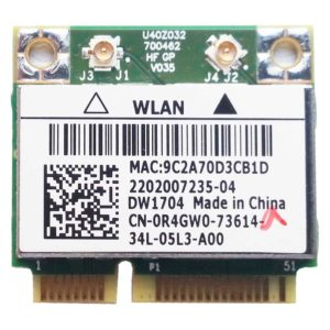 Модуль Wi-Fi + Bluetooth BT 4.0 для ноутбука Dell 3521, 3721, 3737 Mini PCI-E Boardcom DW1704 802.11b/g/n (0R4GW0, CN-0R4GW0)