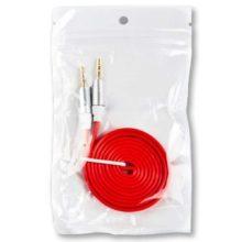 Кабель аудио джек3.5/джек3.5 плоский 1 метр Красный/Европакет (SM001727)