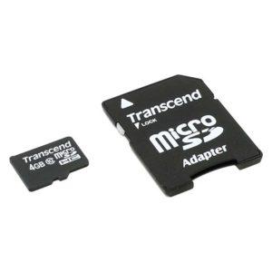 Карта памяти microSDHC Transcend 4 ГБ Class 10 с адаптером SD (TS4GUSDC10)