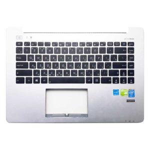 Верхняя часть корпуса с клавиатурой для ноутбука Asus S451L, V451L, V451LA, V451LB, V451LN, S451LA, S451LB, S451LN без тачпада, Silver Серебристая (13NB02U1AM0221, 3BZJ1TCJN00, 13NB02U1P02X11, 0KNB0-4124RU00, AEXJ7701110, 9Z.N9CSQ.10R)
