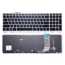 Клавиатура для ноутбука HP Envy 15-j000, 17-j000 с серебристой рамкой и подсветкой (711505-251, 720244-251, NSK-CN4BV, 9Z.N9HBV.40R, 6037B0093222)