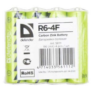 Батарея AA Defender солевая R6-4F (4 штуки в пленке)