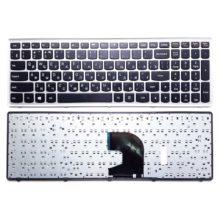 Клавиатура для ноутбука Lenovo IdeaPad P500, Z500, Z500A, Z500G, Z500T Black Черная, Рамка Silver Серебристая (OEM)