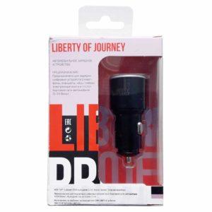 """Автомобильное зарядное устройство """"LP"""" с двумя USB выходами QC 3.0 5В-2,4А/9В-2А/12В-1,67А """"Barrel Series"""" Black Черное, коробка (0L-00042286)"""