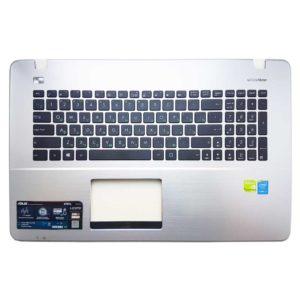 Верхняя часть корпуса с клавиатурой для ноутбука Asus K751S, K751N, X751M, X751L, X751N, R752M без тачпада, Silver Серебристая (13NB04I5P01011, ZCP13NB04I5AM01011, NSK-WA00R, 0KNB0-612NRU00)